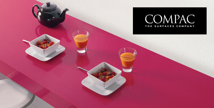 Compac quartz fucsia kitchen worktops
