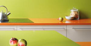 Quartz kitchen worktops by compac orange and apple