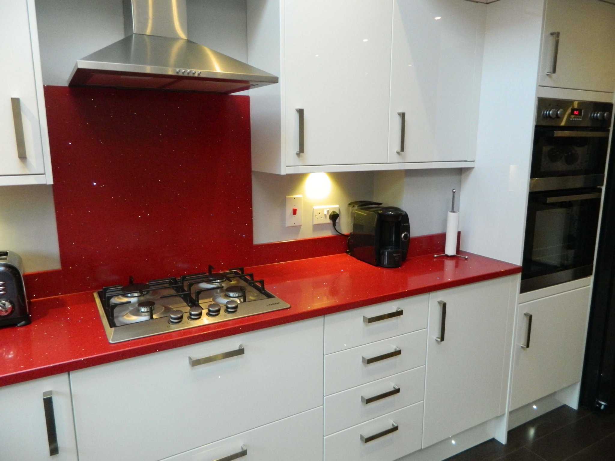 Silestone red sparkle quartz worktops